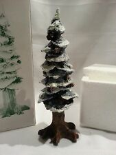 "NEW DEPARTMENT 56 VILLAGE POLE PINE TREE - 8"" COLD CAST PORCELAIN TREE - MIB"