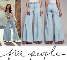 FREE PEOPLE Gilmour JEANS 8 EXTREME FLARE WIDE LEG Bell Bottoms Landon Wash NEW