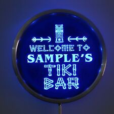welcome to custom your name tiki bar led sign red green blue circle round bar
