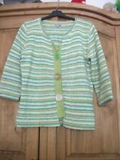 'M&S Per Una' Green & Lime Striped Cardigan, 3/4 Sleeve/Button Front, Size 12
