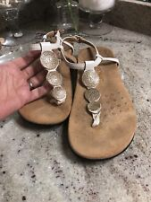 VIONIC White Gold Sandals Strappy  Print  Comfort US 9 1/2 W Wide