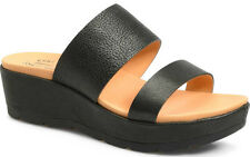 c25a4cdf62c Kork-Ease Kane Black Leather Straps Slide Platform Wedge Sandal US 11 eu 43
