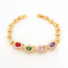 New Women Multi-color Cubic Zirconia CZ Charm Bracelet Gold Plated Jewelry Girls