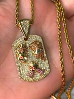 Dog Tag Good Vs Evil Iced Ice Out Mens Women 14k Gold F Pendant Charm Rope Chain