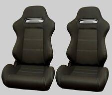 BUCKET RECLINING TILTING SEATS BLACK RECARO STYLE MOUNTED PAIR SUIT FORD NEW