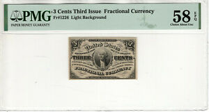 3 CENT THIRD ISSUE FRACTIONAL POSTAL CURRENCY FR.1226 PMG CHOICE AU 58 EPQ (015)