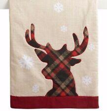 Christmas Reindeer Table Runner Tartan Plaid 13 X 36