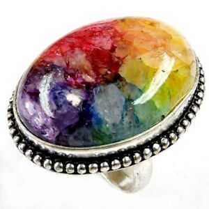 Solar Druzy Agate Gemstone 60.00Cts Silver Overlay Handmade Ring US Size 7.5