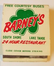 """VINTAGE MATCHBOOK, """"BARNEY'S LAKE TAHO"""", CALIFORNIA. NICE CONDITION.1 MATCH USED"""