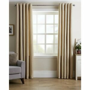 Natural Basket Weave Rich Textured Design Eyelet Curtains Fully Lined