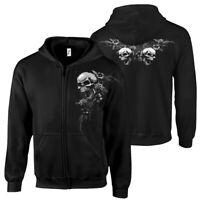 """Kapuzenjacke """"SKULLS & FLOWERS"""" Totenkopf Skull Tattoo Biker Metal Gothic Zipper"""