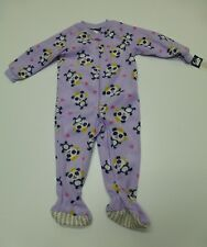 Joe Boxer Girls Size 18M Purple Panda Princess Fleece Footed Pajamas New