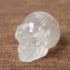 2'' Clear Quartz Crystal Skull Specimen Healing Reiki Hand Carved Figurine Altar