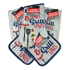 Home Collection Kitchen Set 5pc Good Time Grill Lines Oven Mitt Pot Holder Towel