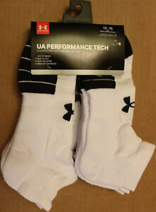 NWT Under Armour Adult Performance Tech Low Cut Socks, 6 Pairs XL Shoe Sz 13-16