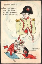 Kénavo (Paul Legrand) Carte peinte. Aquarelle. Napoléon et Edouard VII. 1904