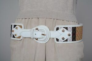 Burberry Prorsum Big NovaCheck White Leather Belt