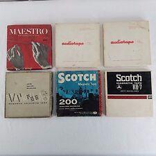 Vintage Lot 6 Magnetic Recording Tape Reels Audiotape Maestro Scotch Blank