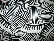 MOD PIANO KEYBOARD WAVY MUSIC NOTES BLACK WHITE COTTON FABRIC FQ OOP