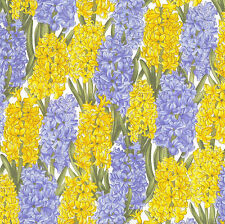 Hyacinth Flowers Blue Yellow Floral Quilting Fabric Craft FQ or By The Metre NEW