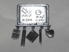 Vintage JJ Jonette MATH TEACHER Chalk Board PIN with Charms Calculator Ruler Pen