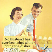 No husband has ever been Shot.... funny drinks coaster  (hb) POSTAGE