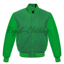 Varsity Letterman Baseball Solid Green wool and Genuine Leather Sleeves Jacket
