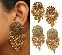 Indian Oxidized Big Gold Jhumka Earrings New Design Bollywood Bridal Jewelry Set