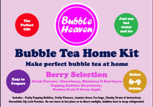 Boba Bubble Tea Make at Home Kit 6 Extra Large / 9 Large Fruity Berry Drinks