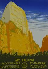 Zion National Park Travel Poster Fine Art Lithograph S2