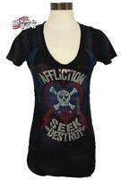 NWT AFFLICTION Black Short Sleeve V-Neck Graphic T-Shirt Top Womens Small BIKER