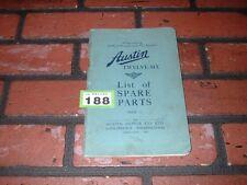 GENUINE AUSTIN TWELVE SIX  ILLUSTRATED SPARE PARTS BOOK. 1932