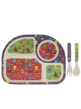Eco-Friendly Bamboo Childrens MONSTERS Dining Set Sectioned Plate Spoon & Fork