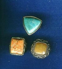 VINTAGE BARSE LOT OF 3 TURQUOISE LARGE RINGS GOLD TONE SIZE 7