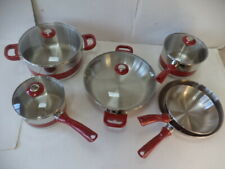 "NEW 10 pc.   ""GINNY""  RED & SILVER   Stainless Steel Cookware Set"