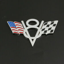 V8 American US USA Flag Chrome Metal Front Emblem Badge For Cadillac GMC