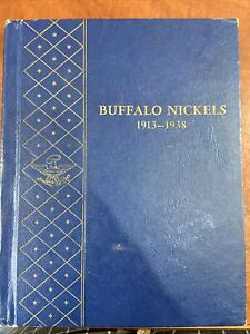 VINTAGE United States Coin Lot of 35 Buffalo Nickels 1913-1938 In Collector Biok