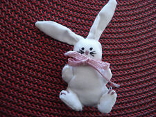 SPRING Bunny Rabbit Hand sewn Pin Pink Ribbon Bow