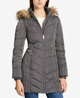 Tommy Hilfiger Womens Faux-Fur-Trim Hooded Chevron Puffer Coat Large Grey