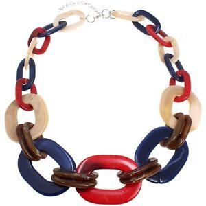 Beautiful acrylic large oval link choker costume necklace fashion jewellery