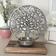 Tree of Life Candle Holder 20cm Decoration Ornament on Wooden Plinth