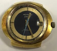 Vintage Wittnauer Geneve Automatic Ufo Date Blue Gold Plate Watch