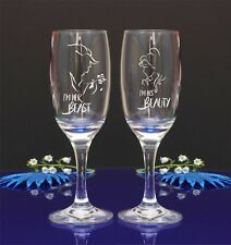 Engraved Beauty and the Beast Wedding Champagne Flutes set of 2//15