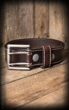 Cinturón Piel - Leather belt with double-buckle, brown