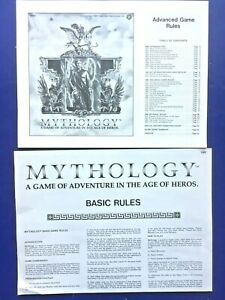 Yaquinto Games Mythology (1980) Replacement Pieces: Basic & Advanced Game Rules