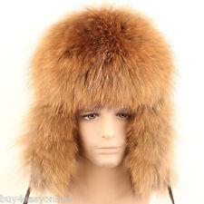 Luxury Russian Raccoon Full Fur Shapka Ushanka Hat Trapper Type for Real Men