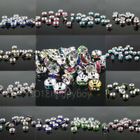 50PCS Crystal Glass Silver Plated Spacer Loose Rondelle Beads 6mm Jewelry Making