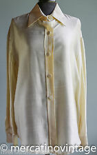 GIANFRANCO FERRE camicia in seta gialla TG42 yellow silk woman shirt