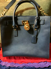 Michael Kors Hamilton Navy Saffiano Leather Chain Snap Shoulder Bag Satchel