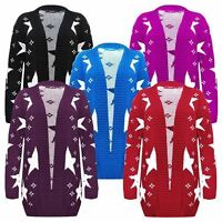 New Women Ladies Long Sleeve Star Print Knitted Cardigan Coat Top Plus Size16-26
